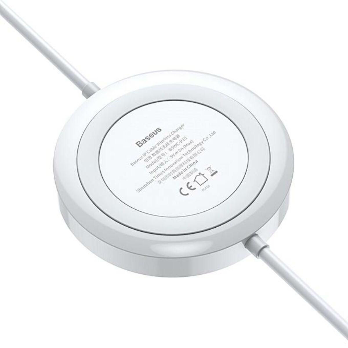 Baseus vezeték nélküli töltő, és kábel, Lightning 5W 1.2m, fehér (WXCA-02)