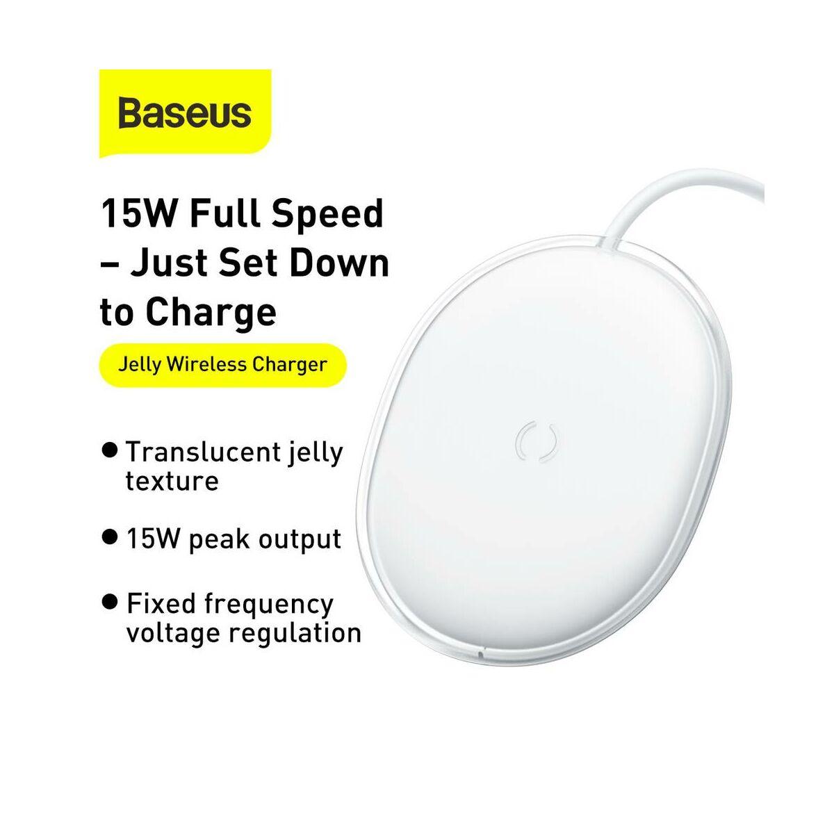 Baseus vezeték nelküli töltő Jelly QC 3.0, 15W, fehér (WXGD-02)