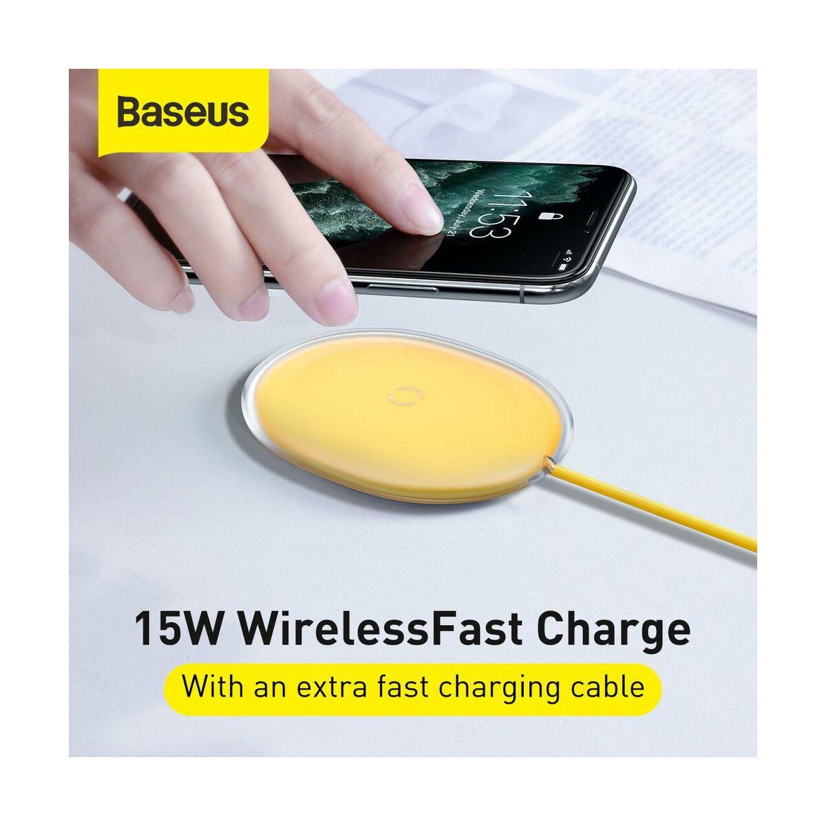 Baseus vezeték nelküli töltő Jelly QC 3.0, 15W, sárga (WXGD-0Y)