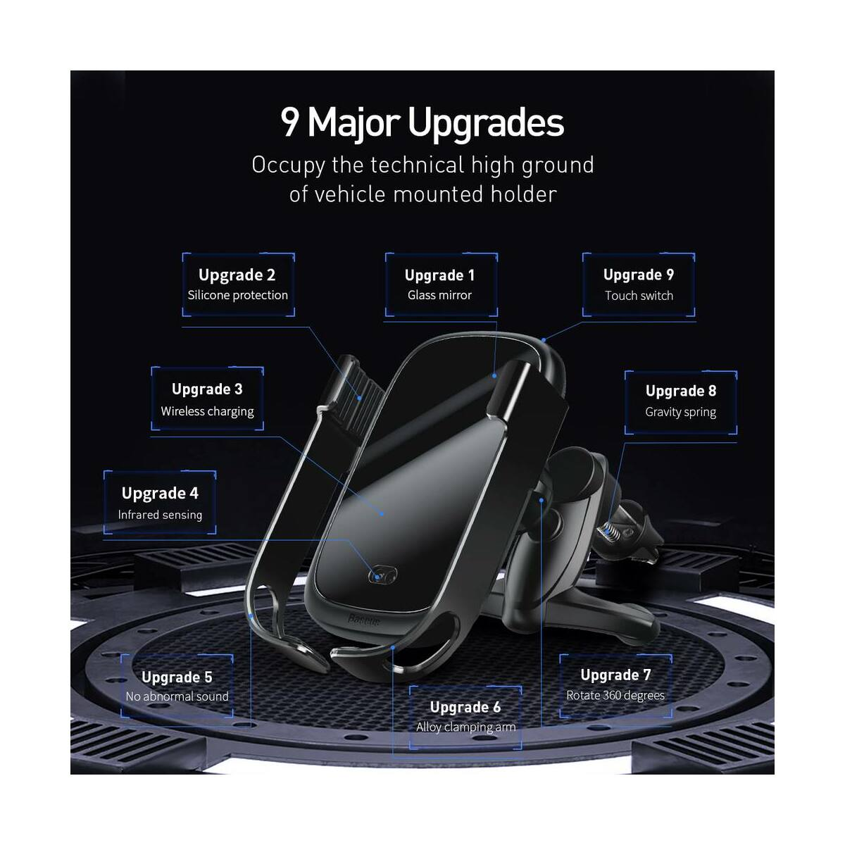 Baseus autós telefon tartó, Rock-solid Electric Holder, szenzoros nyitás, vezeték nélküli töltés, 10W, fekete (WXHW01-01)
