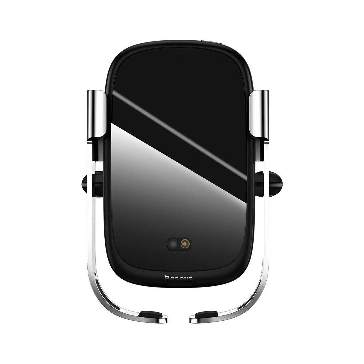 Baseus autós telefontartó, Rock-solid Electric Holder, szenzoros nyitás, vezeték nélküli töltés, 10W, ezüst(WXHW01-0S)