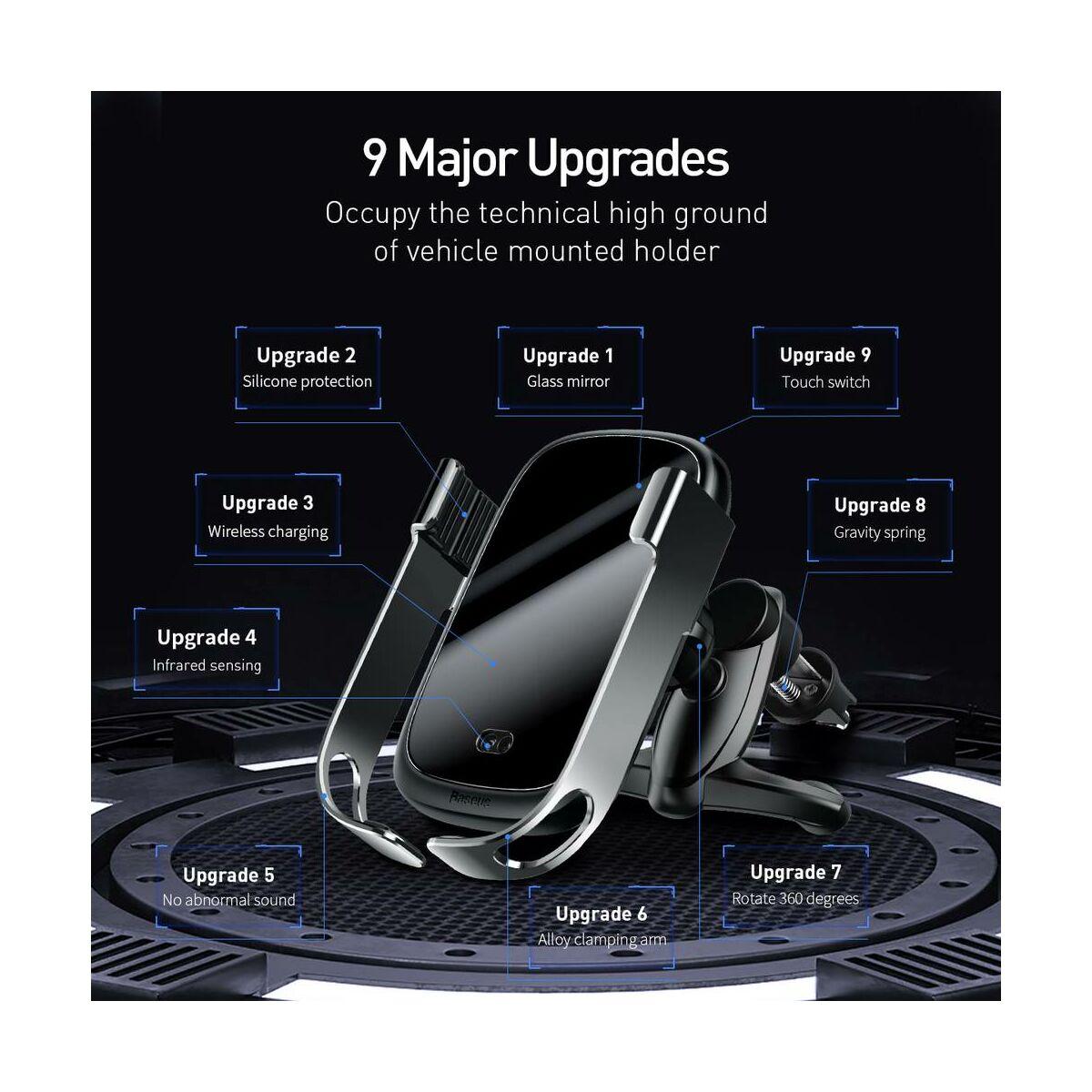 Baseus autós telefon tartó, Rock-solid Electric Holder, szenzoros nyitás, vezeték nélküli töltés, 10W, ezüst(WXHW01-0S)