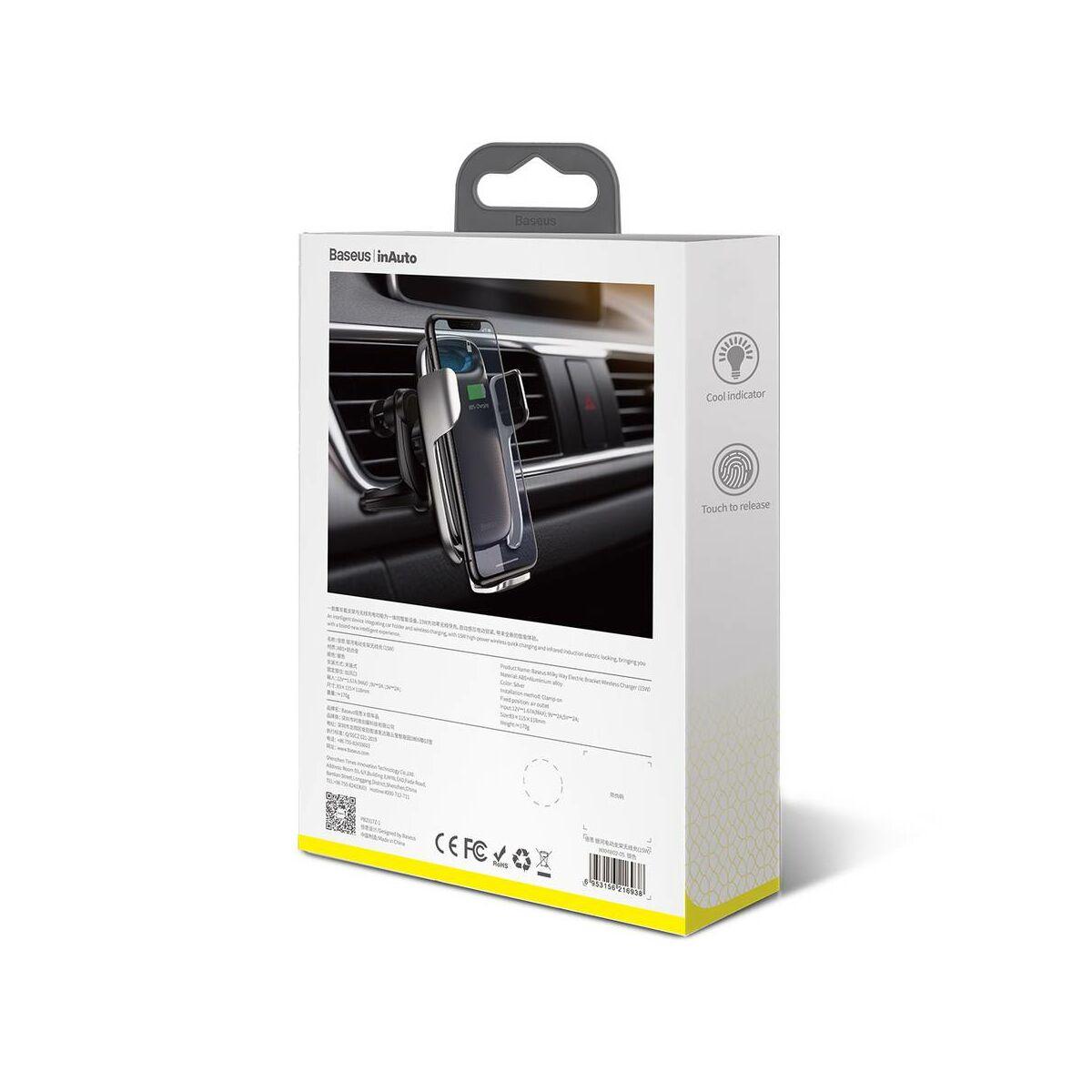 Baseus autós telefontartó, Milky Way Aurora elektromos automata szenzoros nyitás, vezeték nélküli töltés, 15W, ezüst (WXHW02-0S)