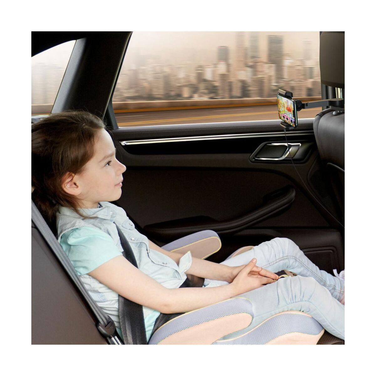 Baseus autós telefon tartó, vezeték nélküli töltő Energy Storage, fejtámlára szerelhető, 15W, fekete (WXHZ-01)