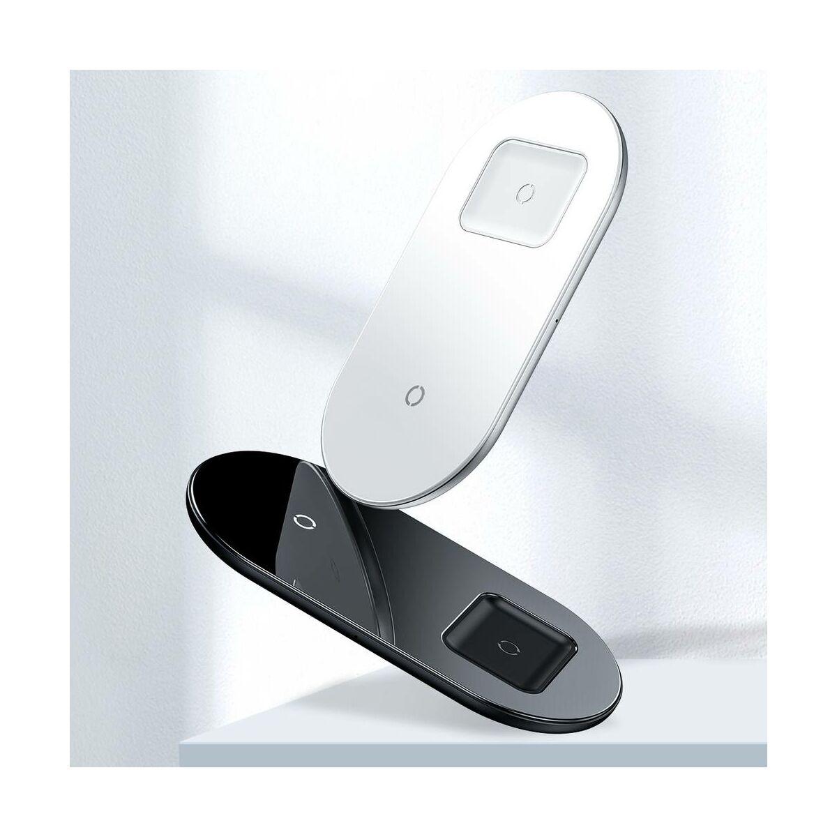 Baseus vezeték nélküli töltő, Simple 2-in-1, telefon + AirPods, 18W, fekete (WXJK-01)