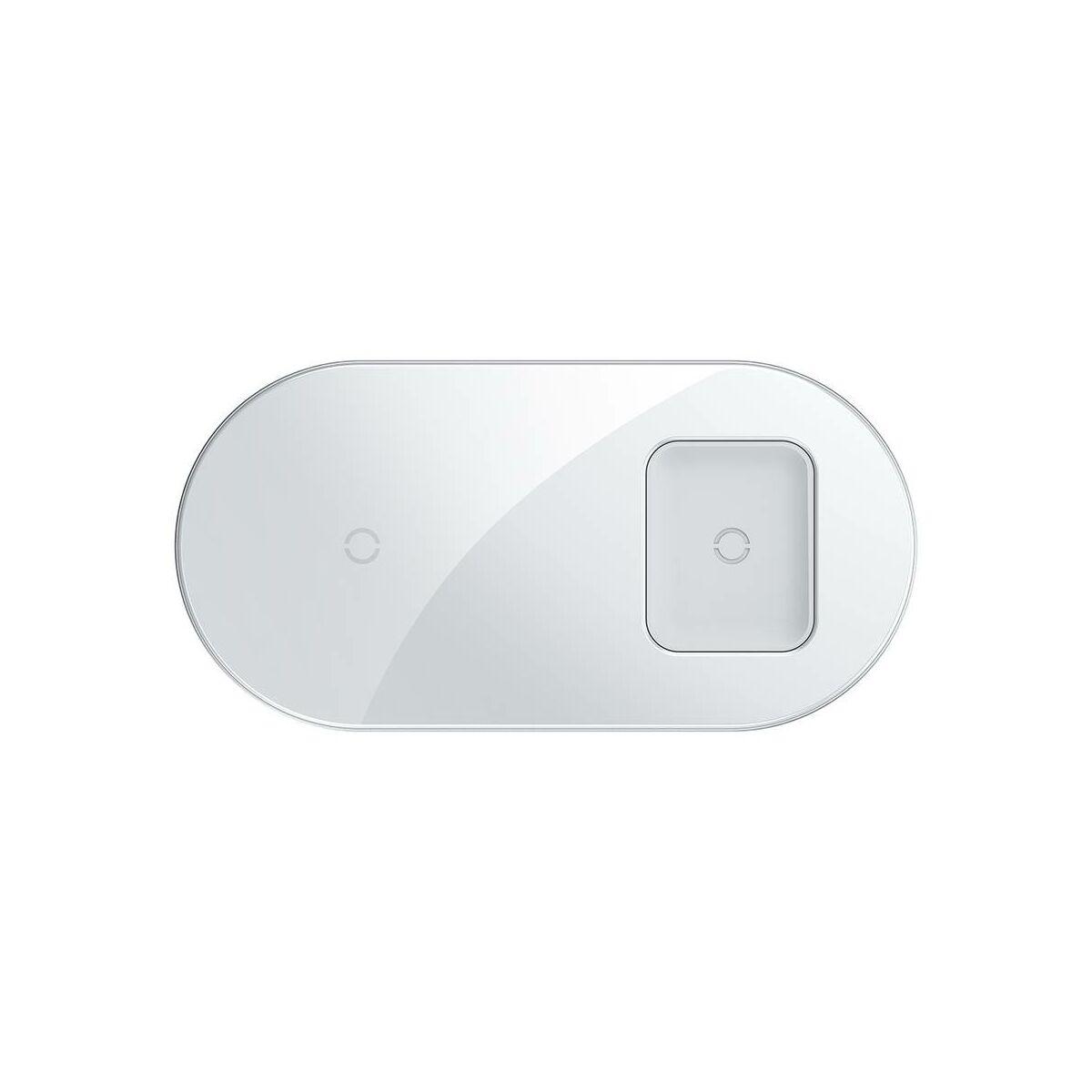Baseus vezeték nélküli töltő, Simple 2-in-1, telefon + AirPods, 18W, fehér (WXJK-02)