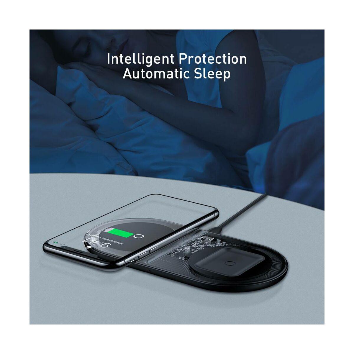 Baseus vezeték nélküli töltő, Simple 2-in-1, telefon + AirPods, 18W, fekete (WXJK-A01)