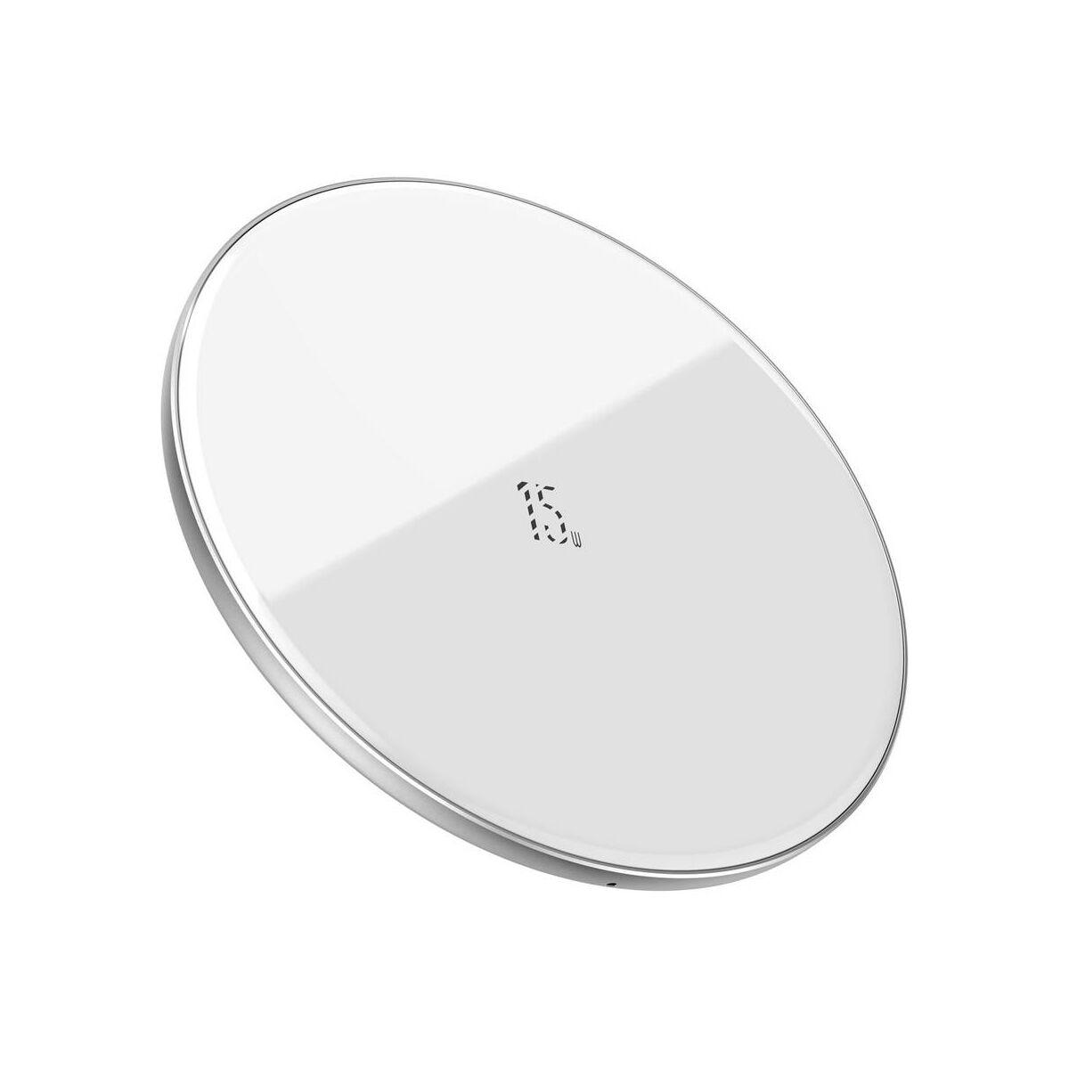 Baseus vezeték nélküli töltő, Simple 2-in-1 frisített verzió, telefon + AirPods, 15W, fehér (WXJK-B02)