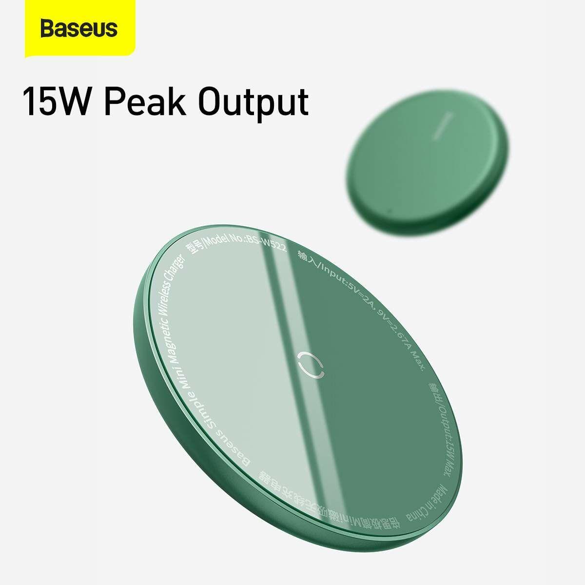 Baseus vezeték nélküli töltő, Simple Magnetic Mini, iPhone 12 modellhez Type-C kábellel 1.5m, 15W, zöld (WXJK-H06)