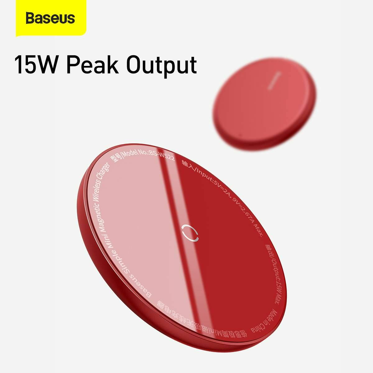 Baseus vezeték nélküli töltő, Simple Magnetic Mini, iPhone 12 modellhez Type-C kábellel 1.5m, 15W, piros (WXJK-H09)
