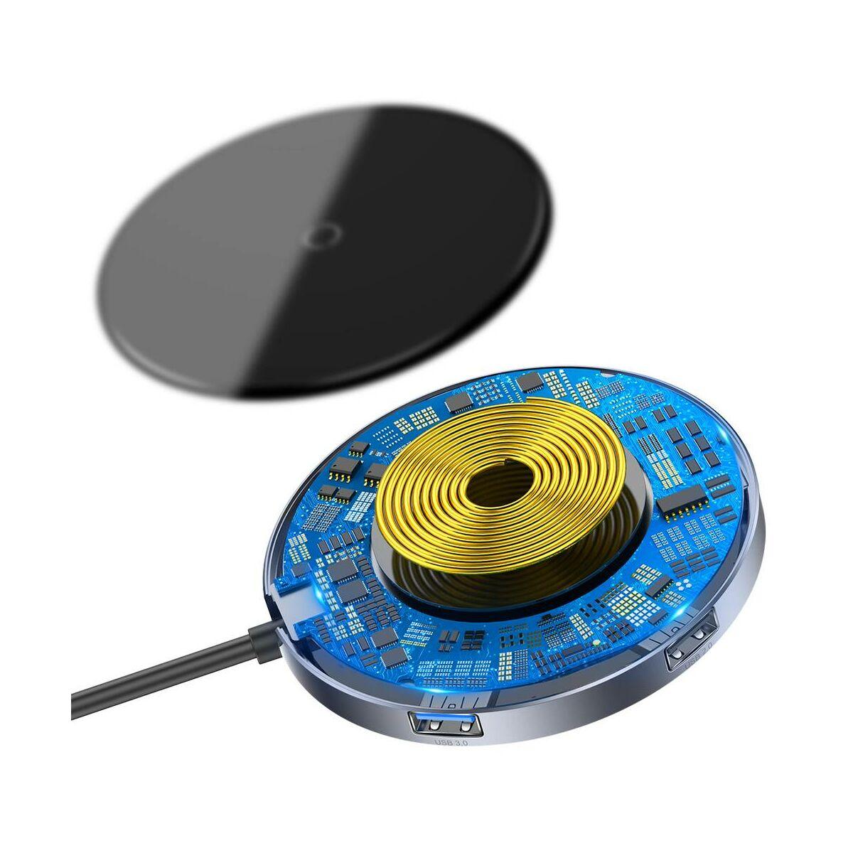 Baseus HUB, Circular Mirror vezeték nélküli töltéssel (Type-C-bemenetről - 1xUSB 3.0 + 3xUSB2.0 + TYPE-C PD), szürke (WXJMY-0G)
