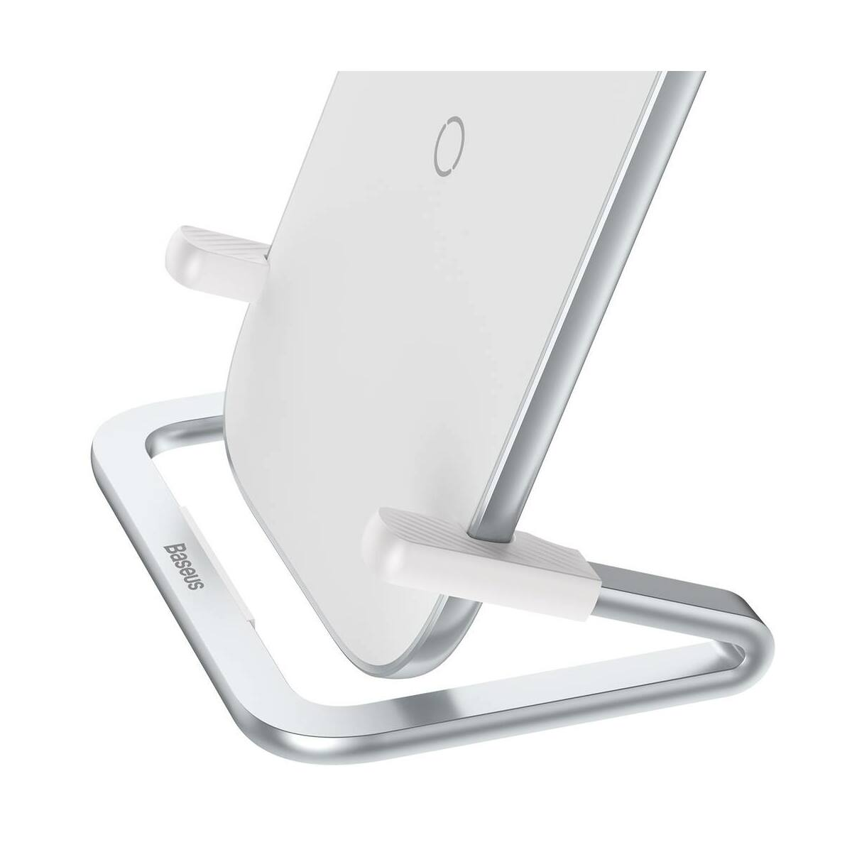Baseus vezeték nélküli töltő, Cobble Rib változtatható telefon töltési pozícióval (fekvő és álló) 15W, fehér(WXPG-02)