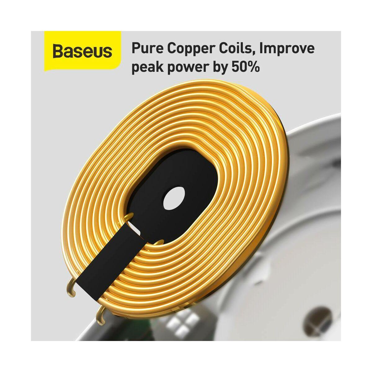 Baseus vezeték nélküli töltő, Planet 2-in-1 gyors töltő és feltkekerhető kábel tartó (Type-C 3A, 1m), fehér (WXPL-B02)