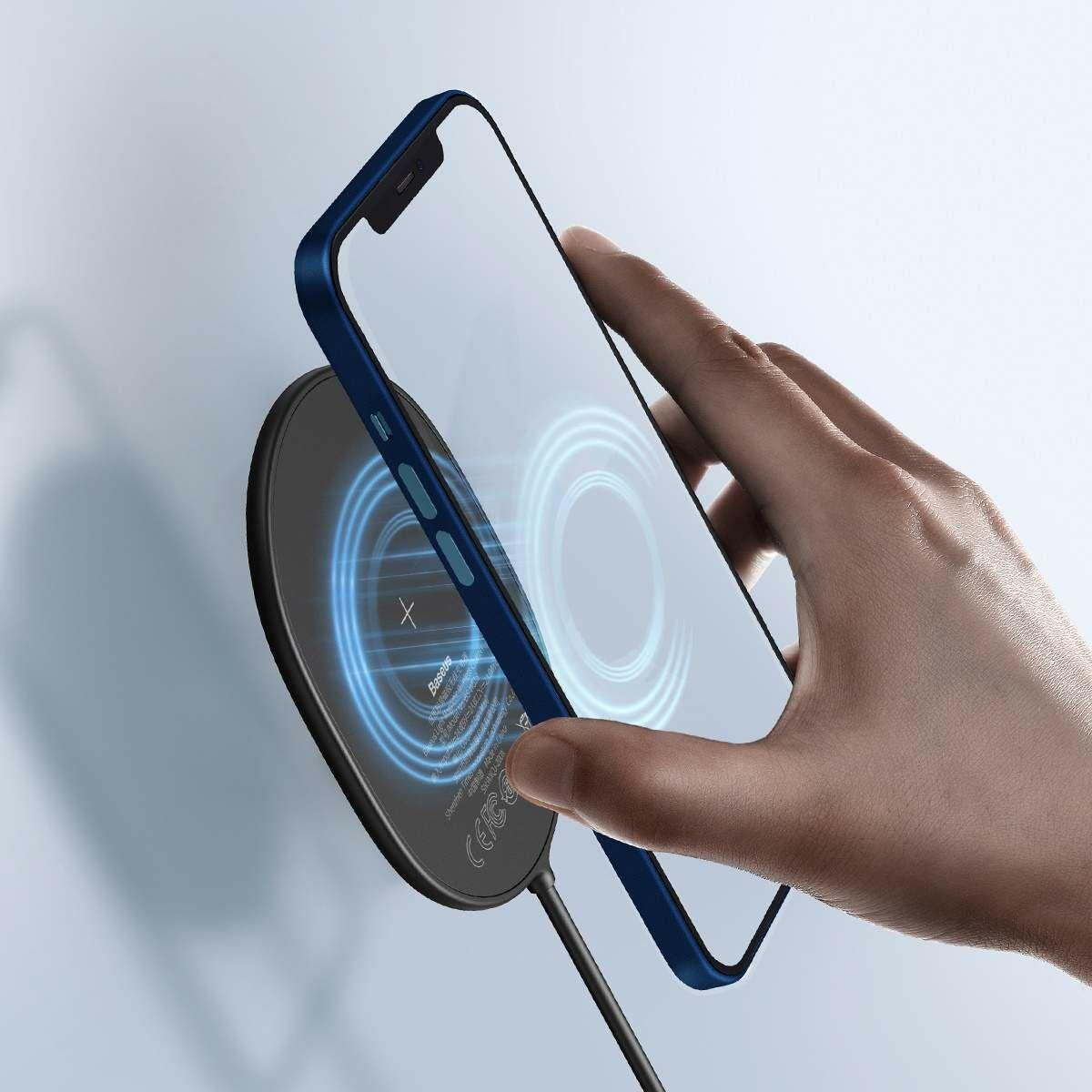 Baseus vezeték nélküli töltő, Light Magnetic, iPhone 12 modellhez (Type-C kábel 2A, 1.5m) 15W, fekete (WXQJ-01)
