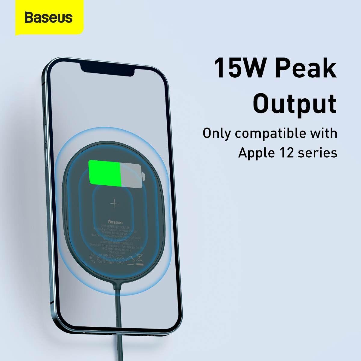 Baseus vezeték nélküli töltő, Light Magnetic, iPhone 12 modellhez (Type-C kábel 2A, 1.5m) 15W, kék (WXQJ-03)