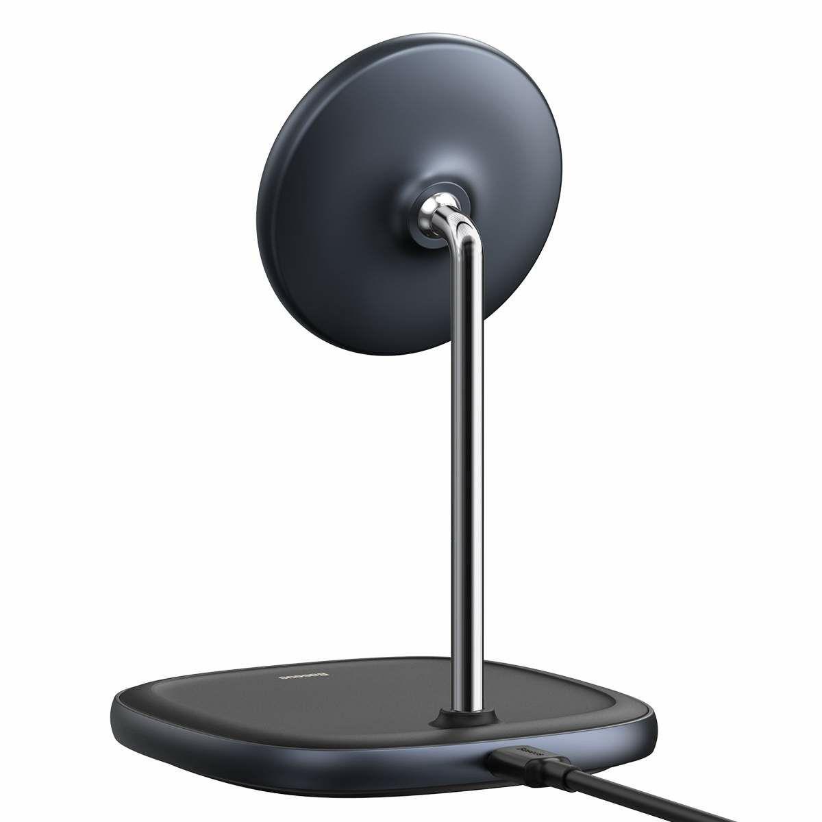 Baseus vezeték nélküli töltő, Swan Magnetic asztali konzol, iPhone 12 modellhez, 15W, fekete (WXSW-01)