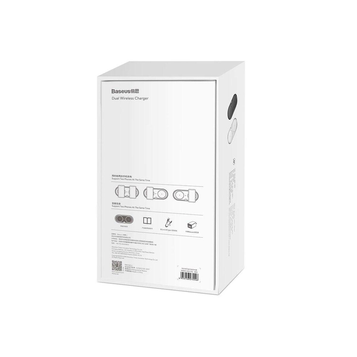 Baseus vezeték nélküli töltő, Dupla (EU Quick 3.0 hálózati töltő, + kábel), 10W, ezüst (WXXHJ-A0S)