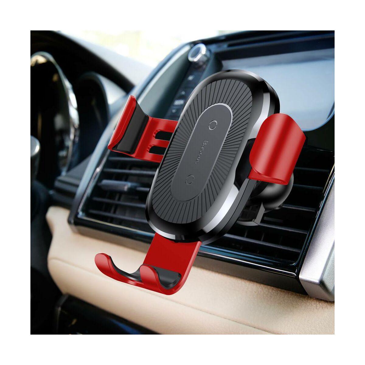 Baseus autós telefon tartó, vezeték nélküli töltő Gravity, szellőzőrácsra, piros (WXYL-09)