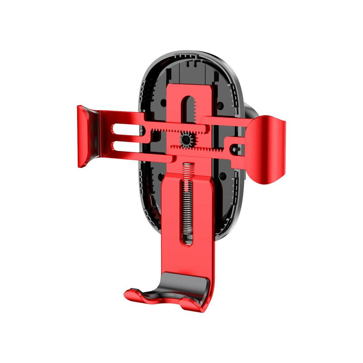 Baseus autós telefontartó, vezeték nélküli töltő Gravity, szellőzőrácsra, piros (WXYL-09)