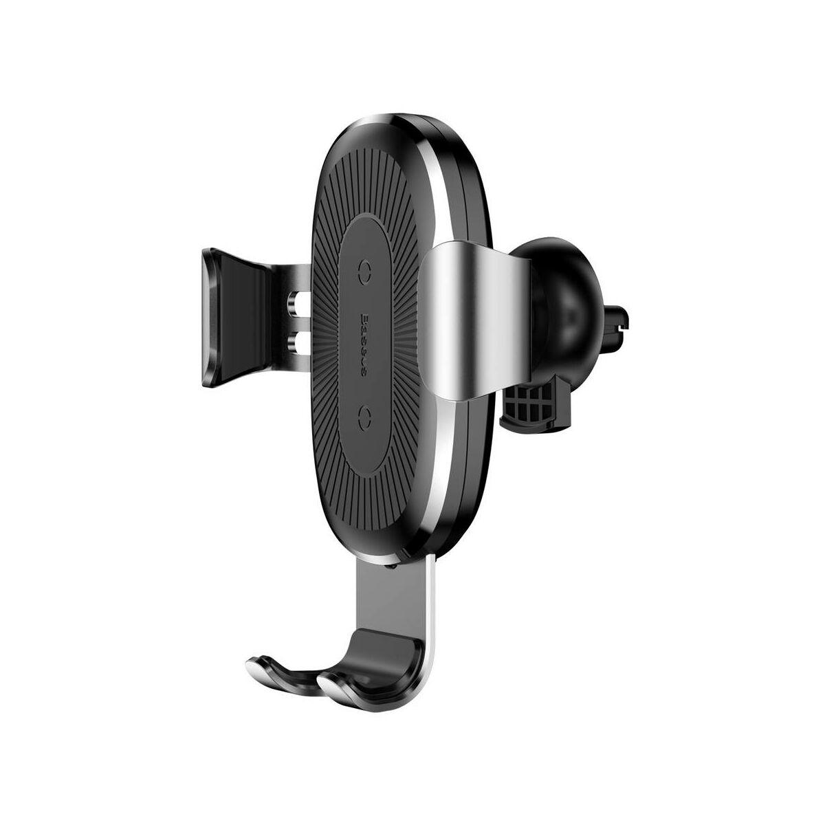 Baseus autós telefontartó, vezeték nélküli töltő Gravity, szellőzőrácsra, ezüst (WXYL-0S)