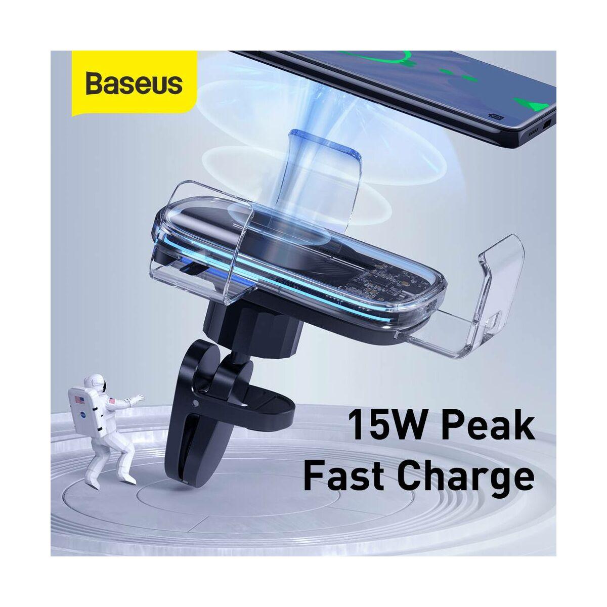 Baseus autós telefon tartó, vezeték nélküli töltő Explore Gravity, szellőzőrácsra 15W, átlátszó (WXYL-K02)