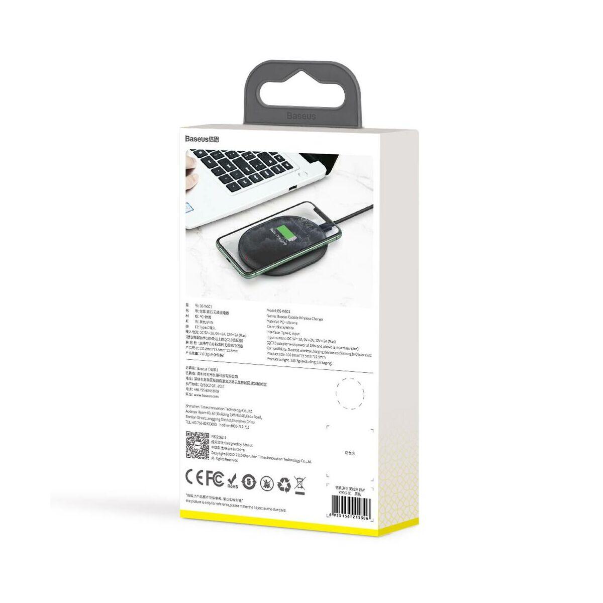 Baseus vezeték nélküli töltő, Cobble 15W, fekete (WXYS-01)