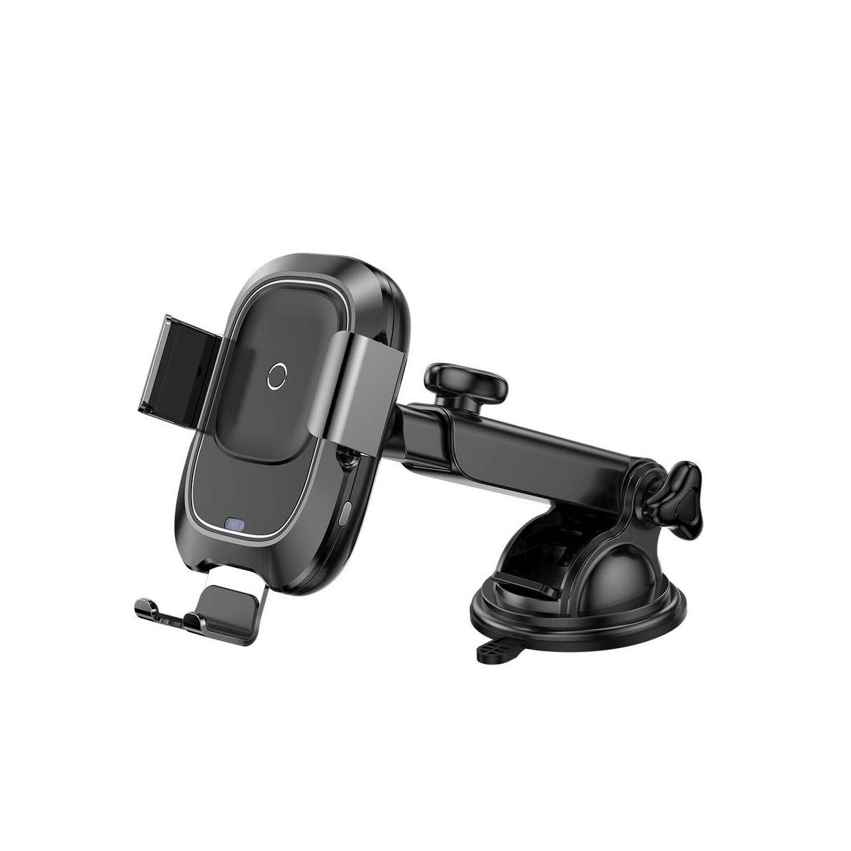 Baseus autós telefon tartó, vezeték nélküli töltő, automatikus nyitás-zárás, (műszerfalra), fekete (WXZN-B01)