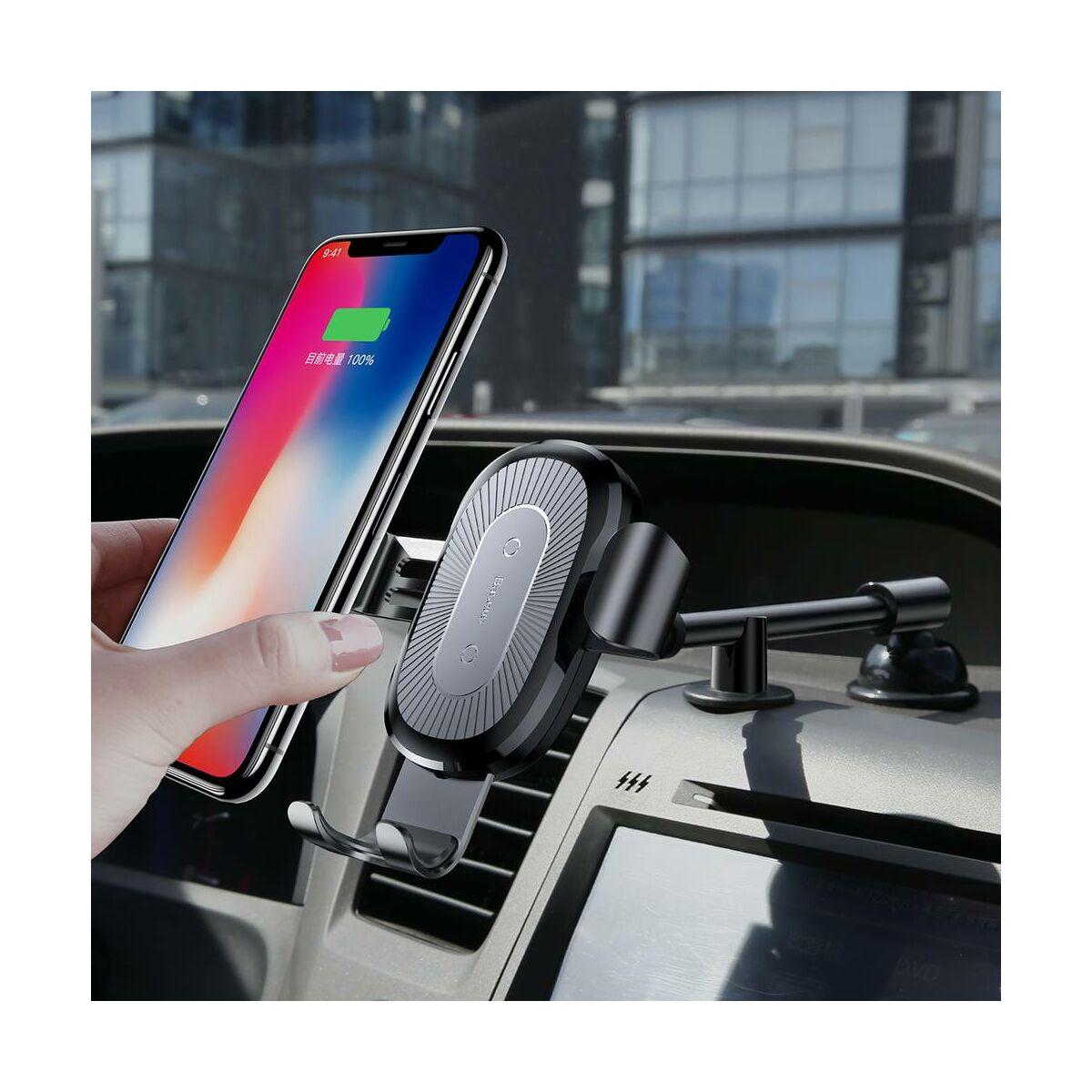 Baseus autós telefontartó, vezeték nélküli töltő Heukji állítható karral, műszerfalra, fekete (WXZT-01)