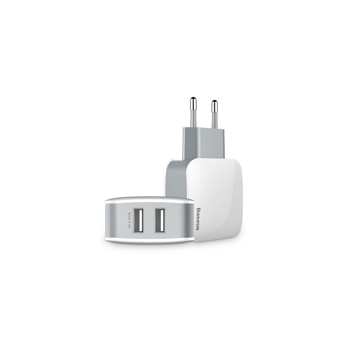 Baseus hálózati töltő, Letour Dupla USB Charger, 2.4A, fehér/szürke (ZCL2B-B02)