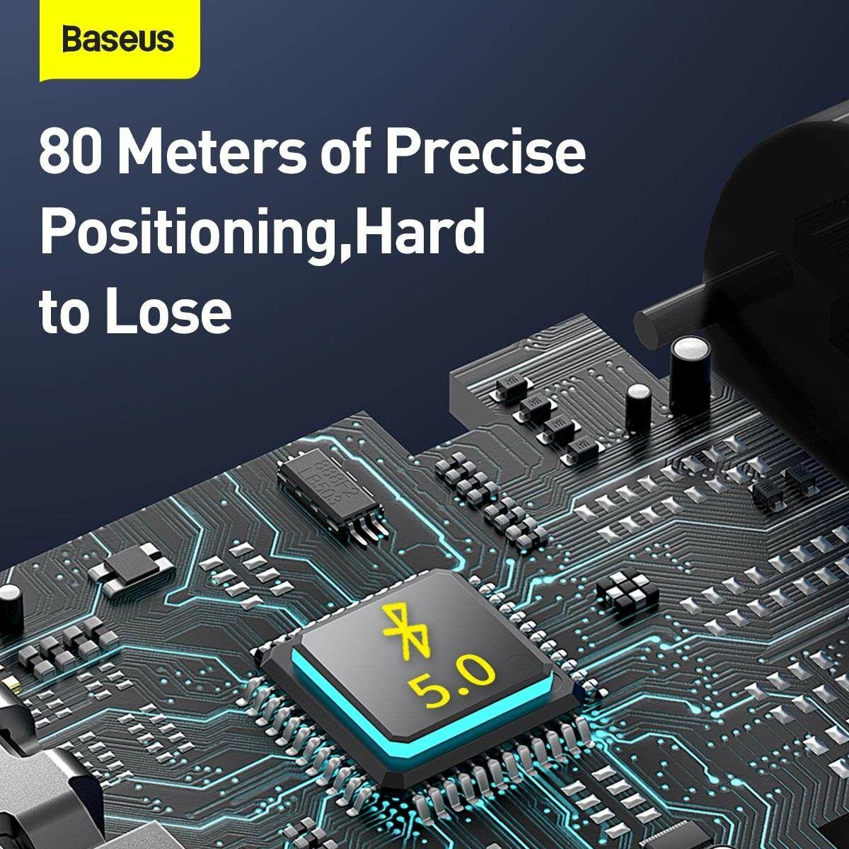 Baseus otthon, Intelligent T3 mini, elveszett eszközök/kulcsok megtalálásához kereső és nyomkövető, tölthető, 80 mAh, fekete (ZLFDQT3-01)