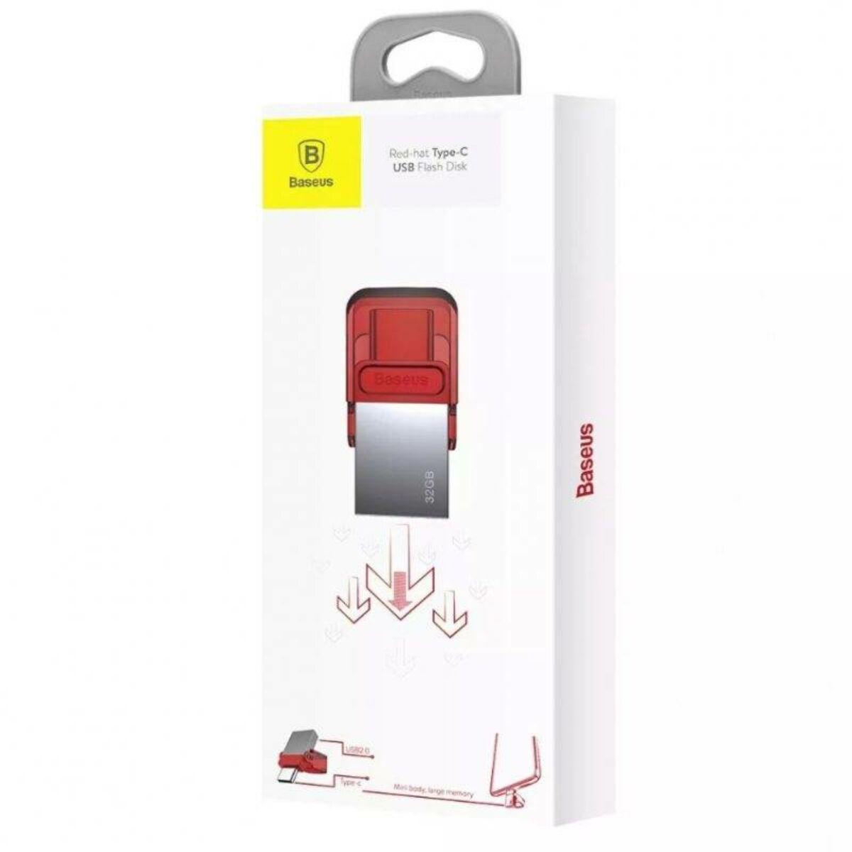 Baseus átalakító, Red-hat Type-C - USB Pendrive 32GB + piros védő kupak (ACAPIPH-EA9)