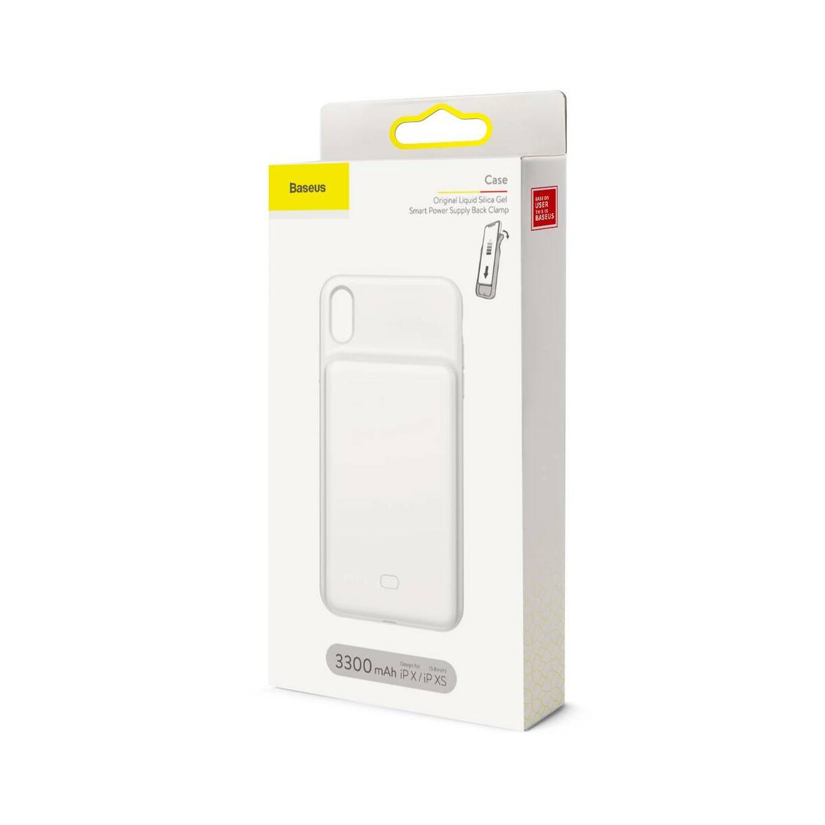 Baseus Power Bank tok, Liquid Silicone Smart back clamp 3300 mAh, X/XS, fehér (ACAPIPH58-ABJ02)