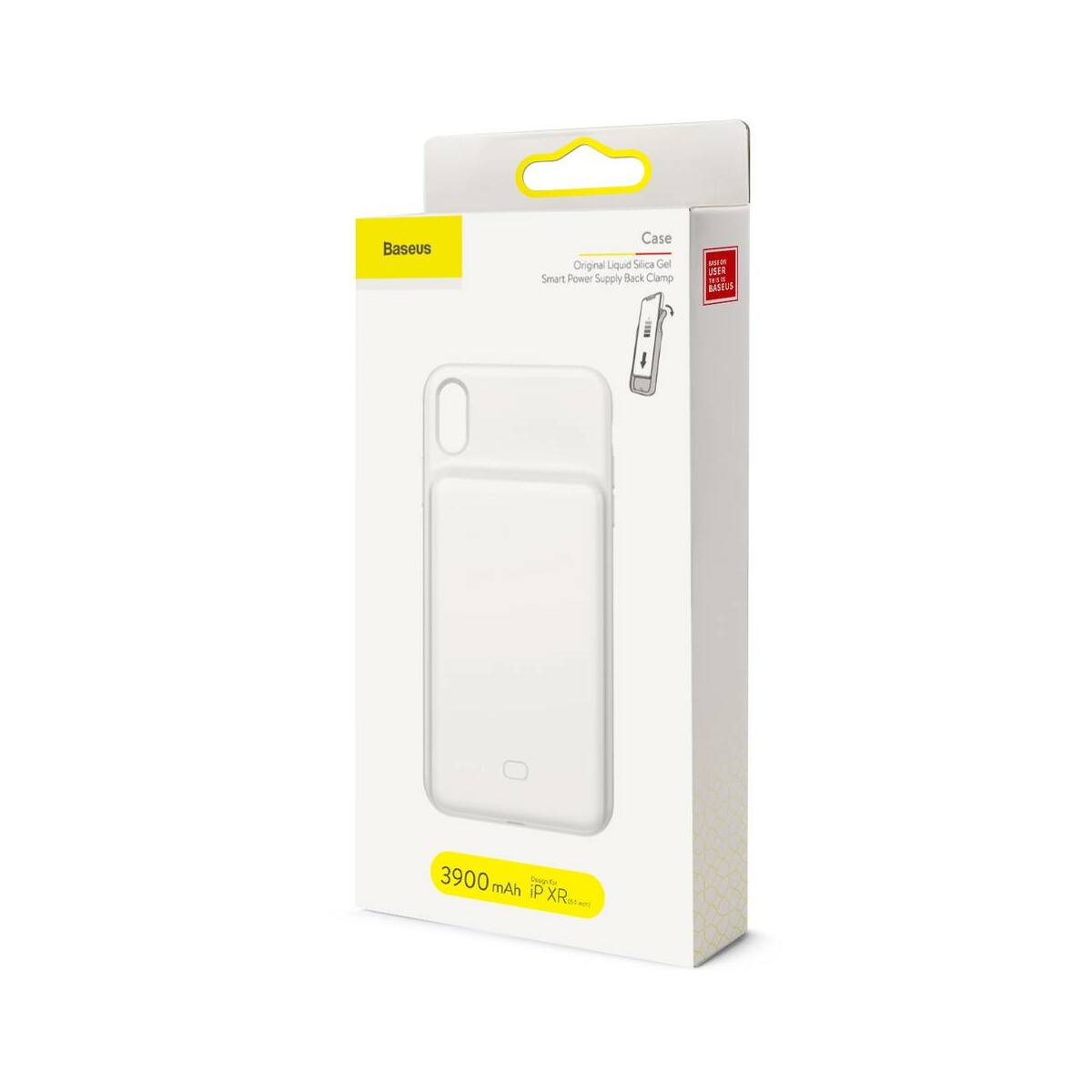 Baseus Power Bank tok, Liquid Silicone Smart back clamp 3900 mAh, XR, fehér (ACAPIPH61-BJ02)