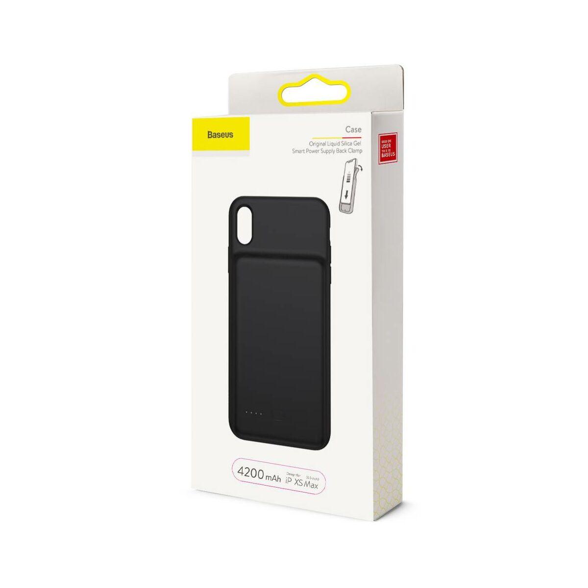 Baseus Power Bank tok, Liquid Silicone Smart back clamp 4200 mAh, XS Max, fekete (ACAPIPH65-BJ01)