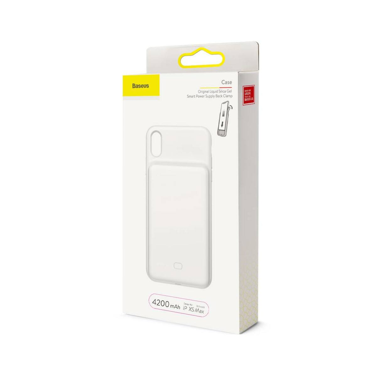 Baseus Power Bank tok, Liquid Silicone Smart back clamp 4200 mAh, XS Max, fehér (ACAPIPH65-BJ02)