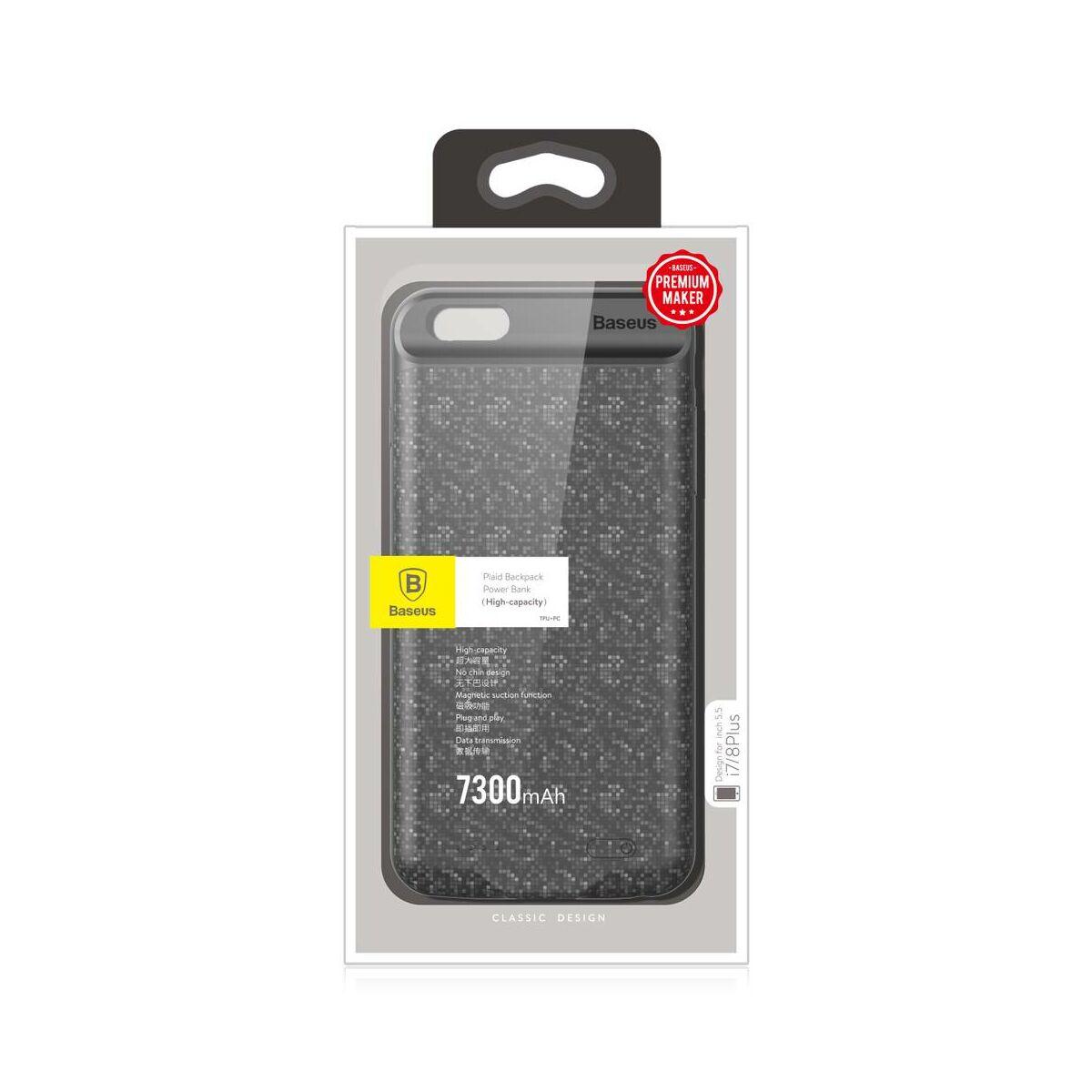 Baseus Power Bank tok, Plaid Backpack 7300 mAh iPhone 8/7 Plus, fekete (ACAPIPH7P-LBJ01)