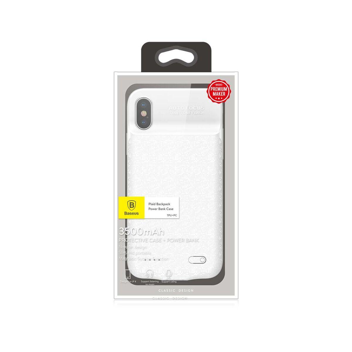 Baseus Power Bank tok, Plaid Backpack 3500 mAh iPhone X, fehér (ACAPIPHX-BJ02)
