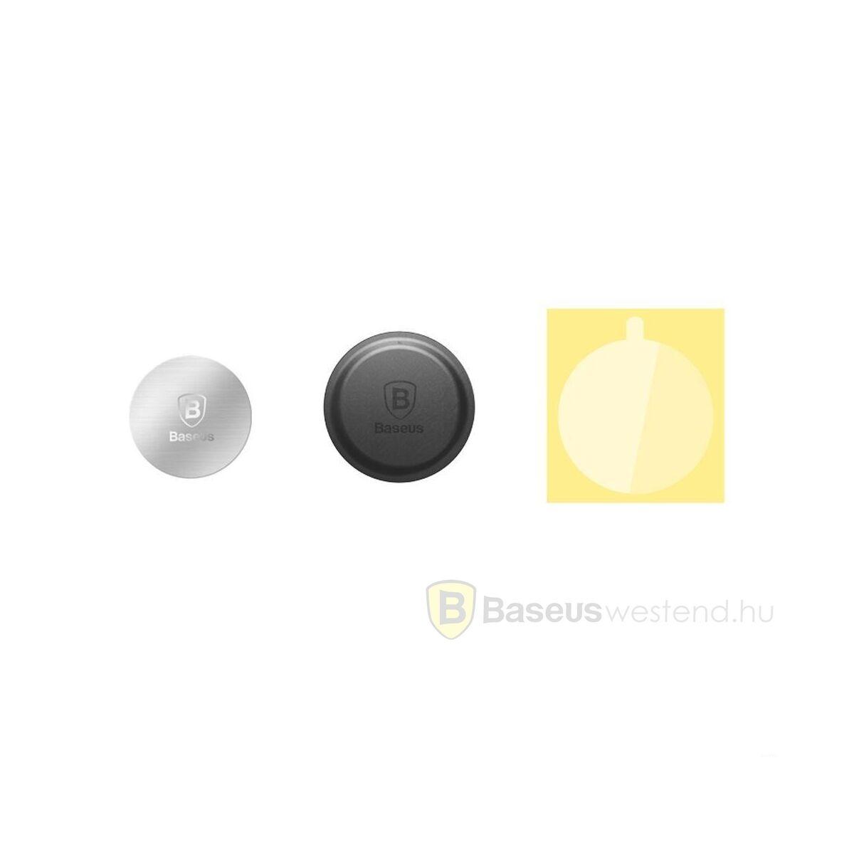 Baseus autós telefon tartó, Fém és bőrrel bevont fém betét mágneses tartóhoz, ezüst (ACDR-A0S)