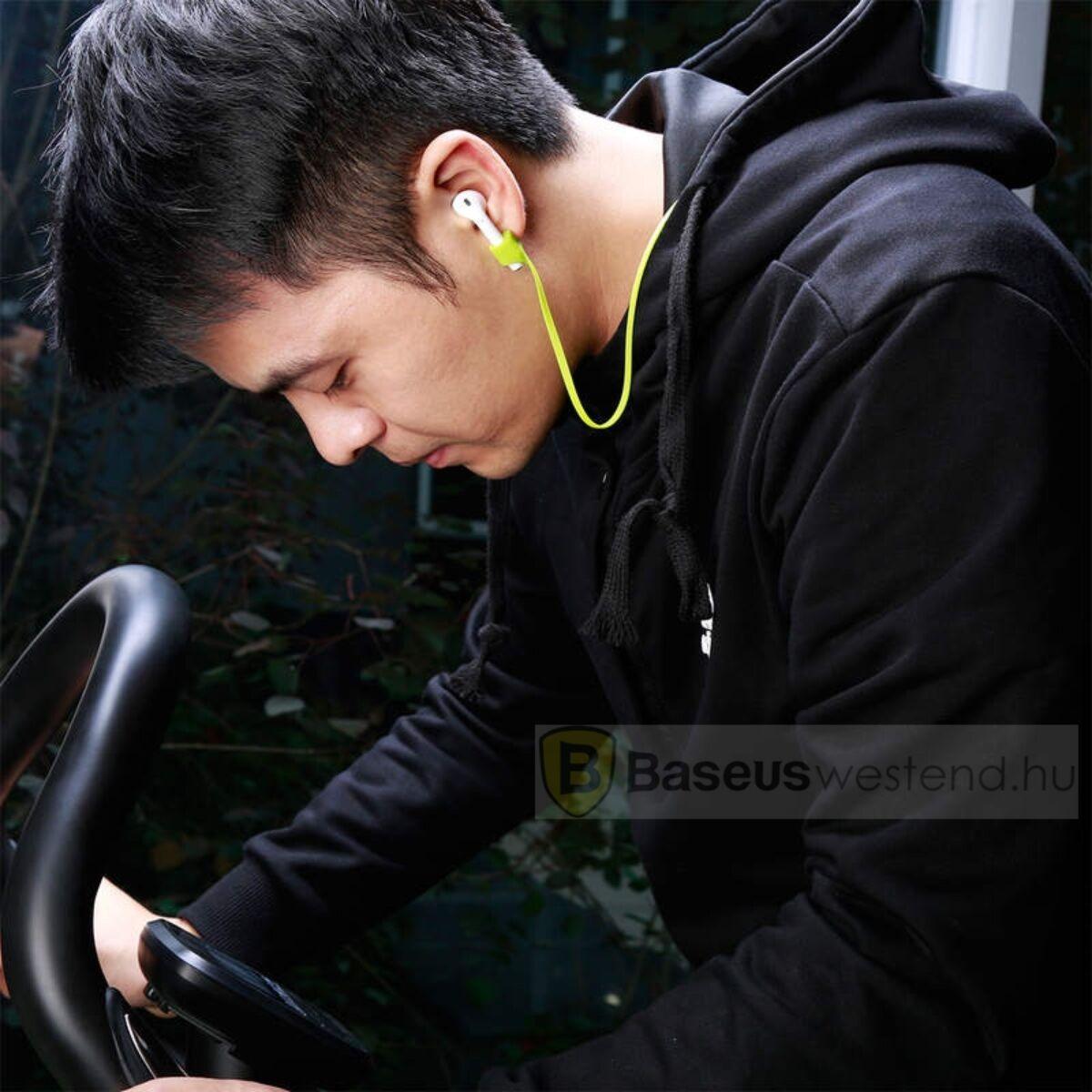 Baseus fülhallgató, tartó, AirPods kompatibilis, szilikon, mágneses, nyakba akasztható, lapos kábel, zöld (ACGS-A06)