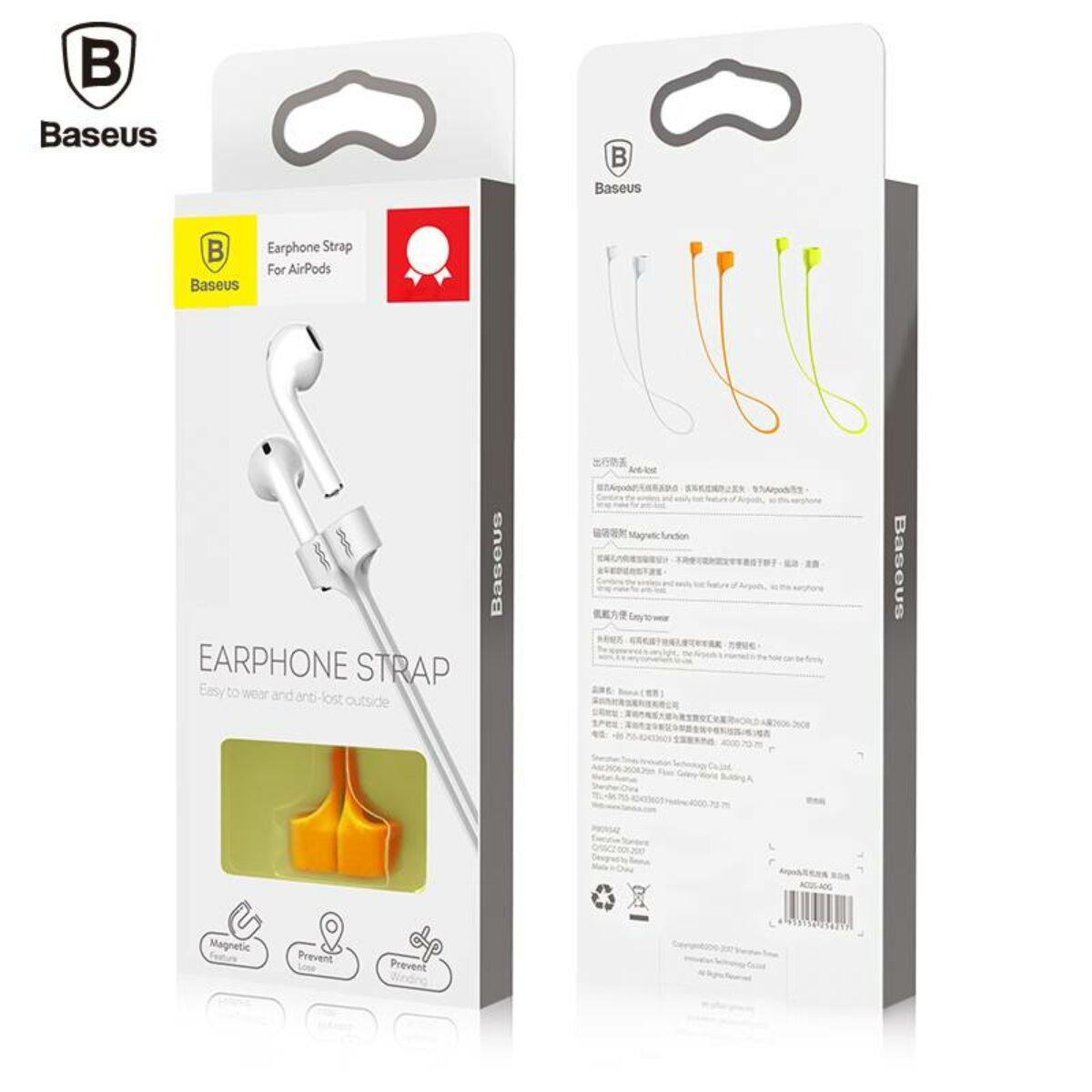 Baseus fülhallgató, tartó, AirPods kompatibilis, szilikon, mágneses, nyakba akasztható, lapos kábel, narancssárga (ACGS-A07)