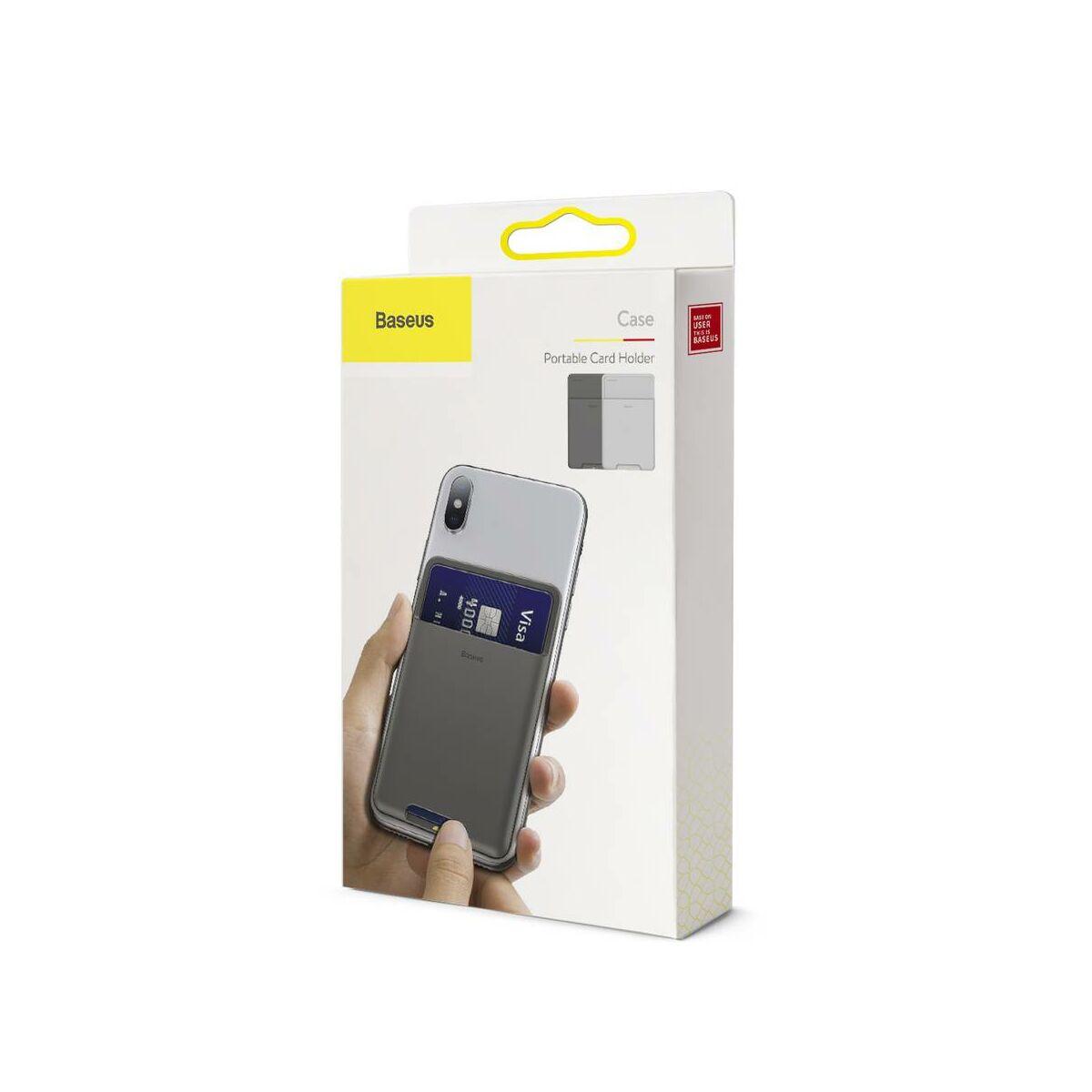 Baseus Hátoldalra ragasztható szilikon irat / bankkártya tartó, francia szürke (ACKD-B0G)