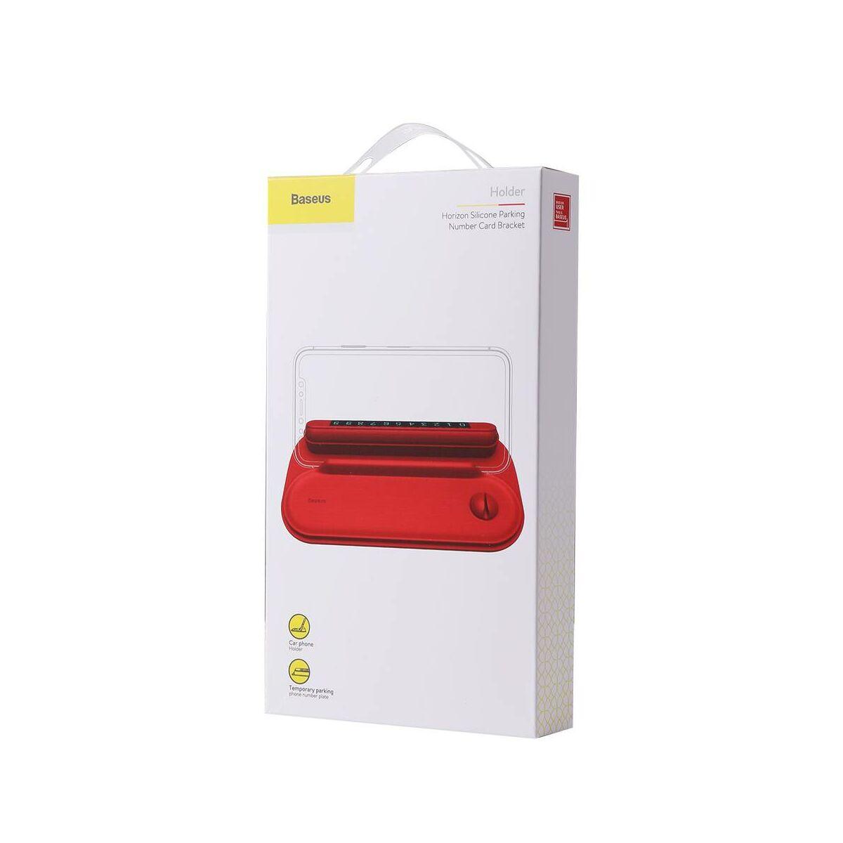 Baseus autós kiegészítő, Horizon Silicone telefonszám kijelző műszerfalra parkoláshoz, piros (ACNUM-PM09)