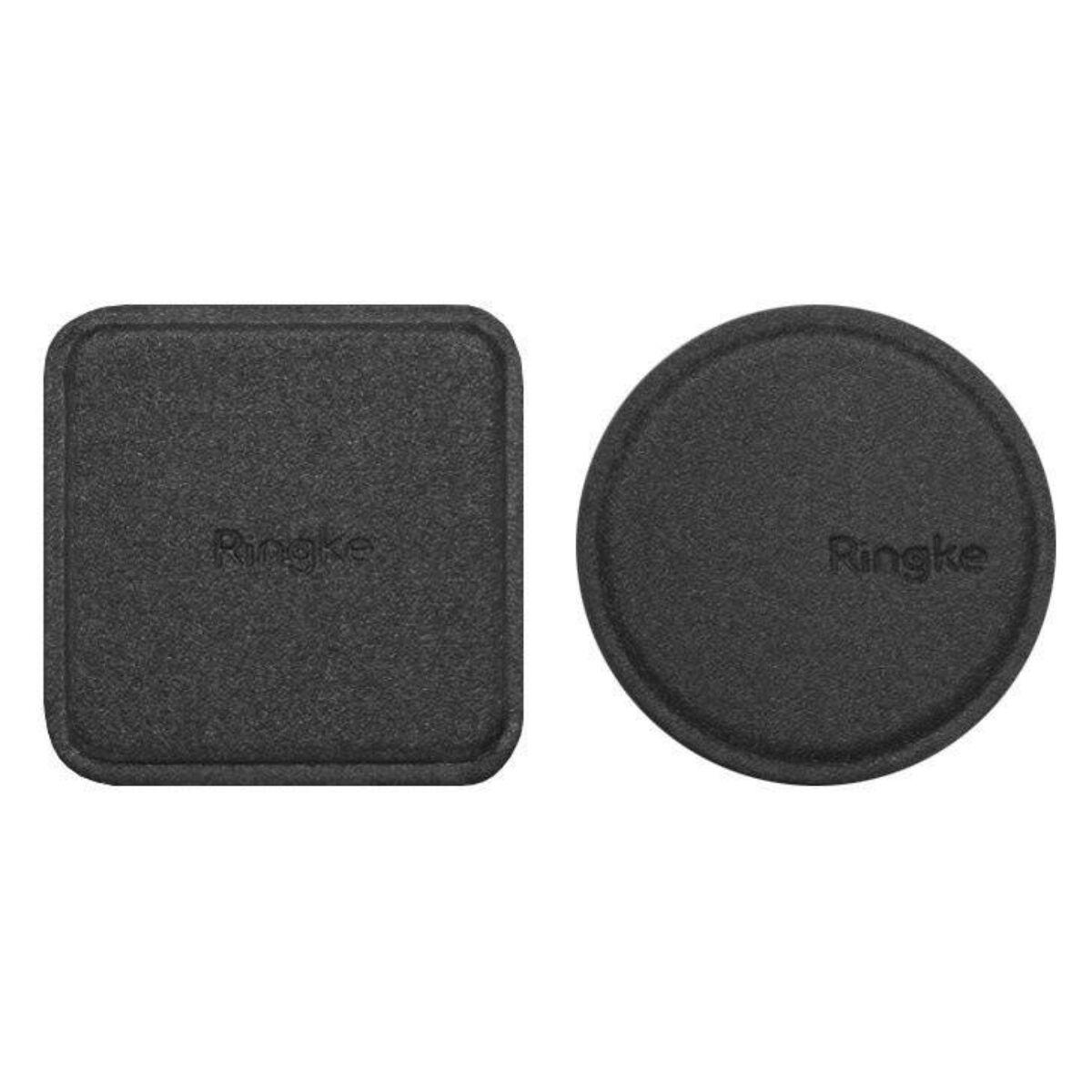 Ringke, Bőrborítású fémlap mágneses autós tartóhoz (1+1 csomag), fekete