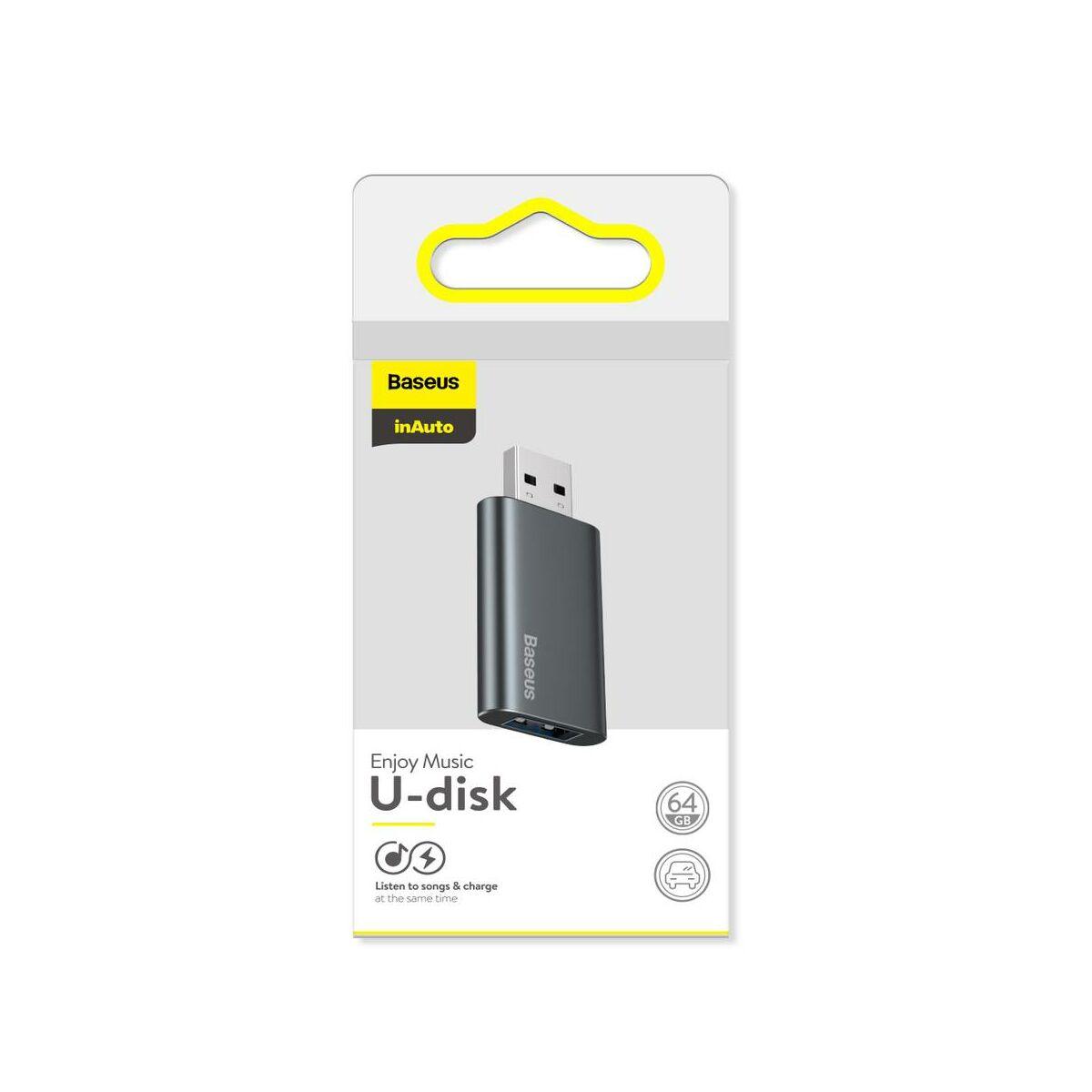 Baseus Audio, Enjoy Flash Drive USB 3.0 töltő funkcióval, alumínium ház, 64GB, fekete (ACUP-C0A)