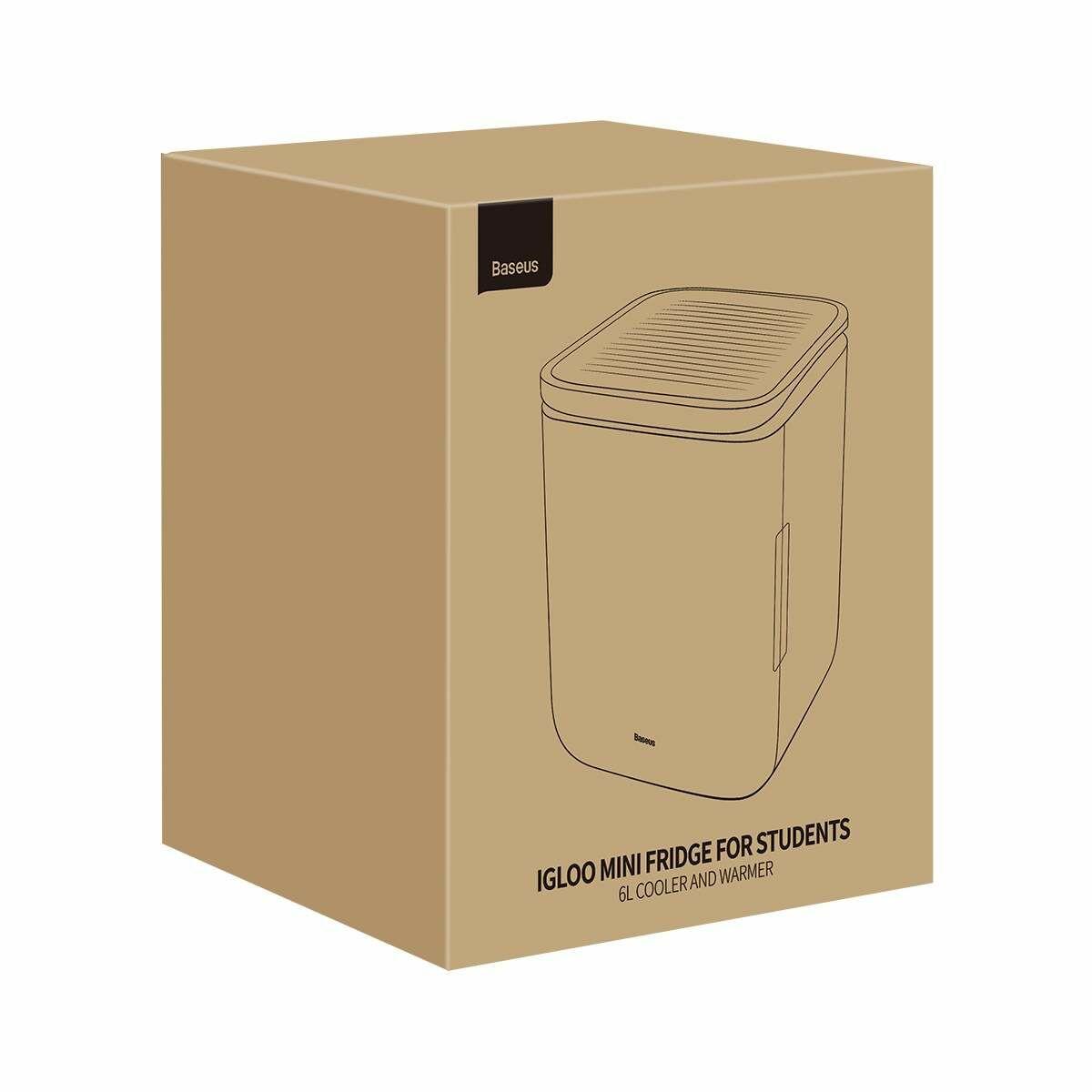 Baseus otthon, Igloo Mini Hűtő 6L, hűtés 45W, melegítés 38W, 220V, fehér (ACXBW-A02)