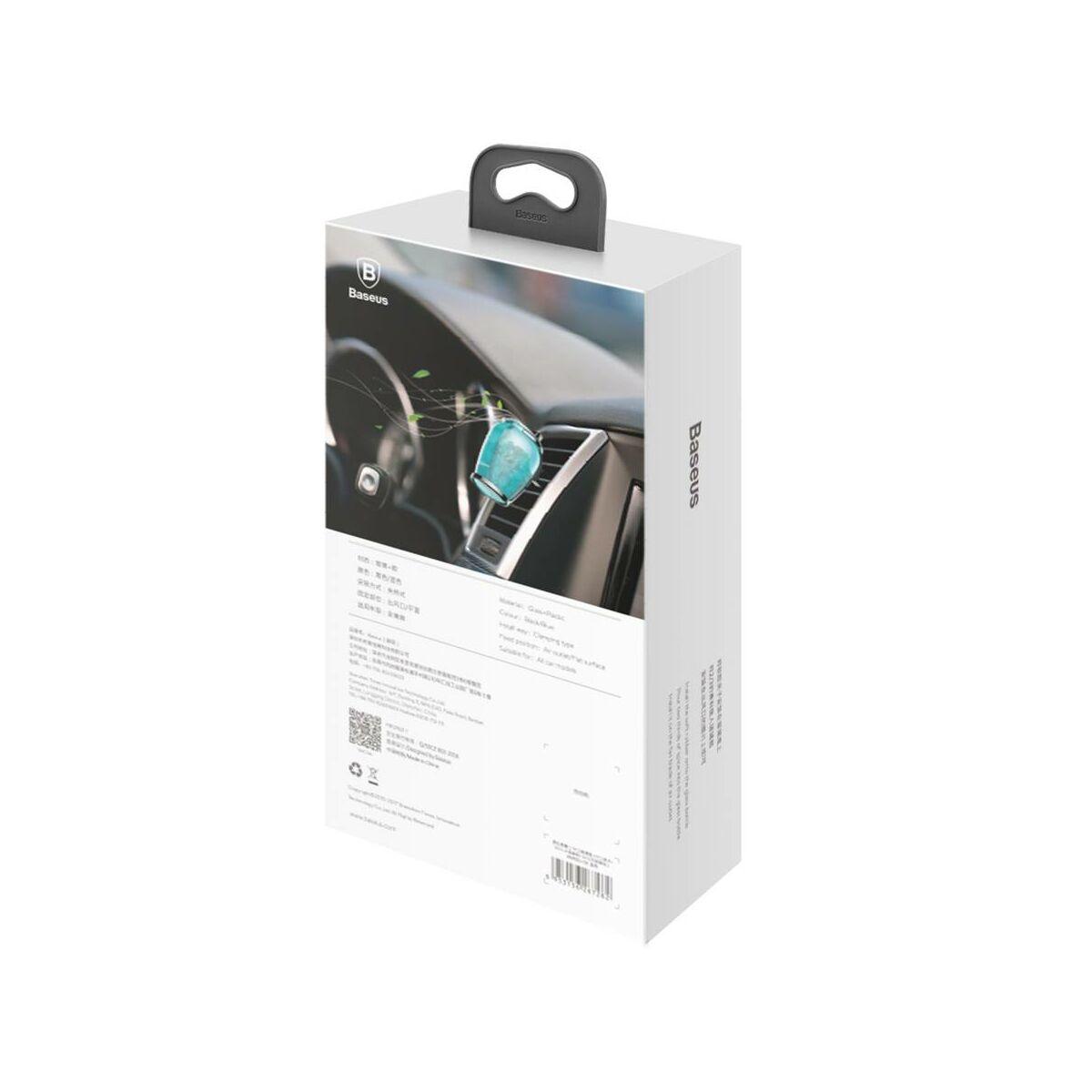 Baseus autós illatosító, Zeolite üveg + csiptető + illatanyag(Sea spice + Angel spice), kék (AMROU-03)