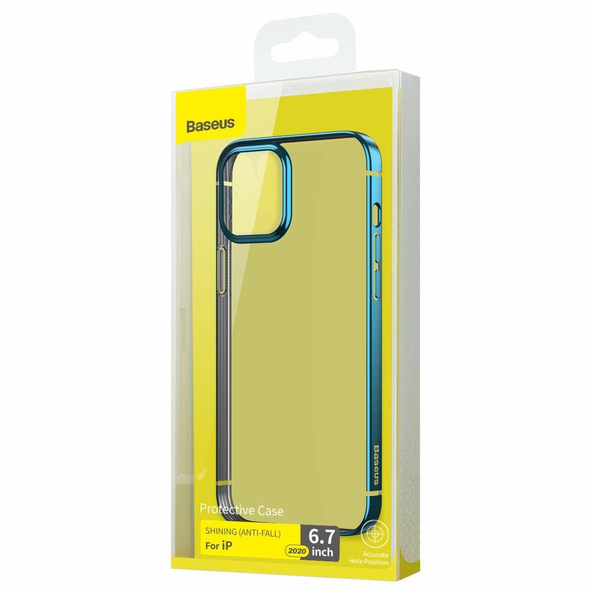 Baseus iPhone 12 Pro Max tok, Shining (esés védelemmel), kék (ARAPIPH67N-MD03)