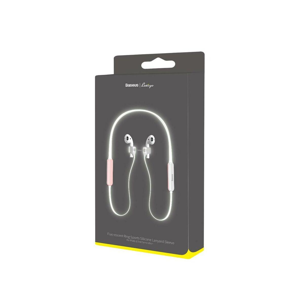 Baseus Airpods 2/1 tartó, Lets go fluoreszkáló Ring Sports szilikon pánt, nyakba akasztható pánttal, fehér/rózsaszín (ARAPPOD-B24)