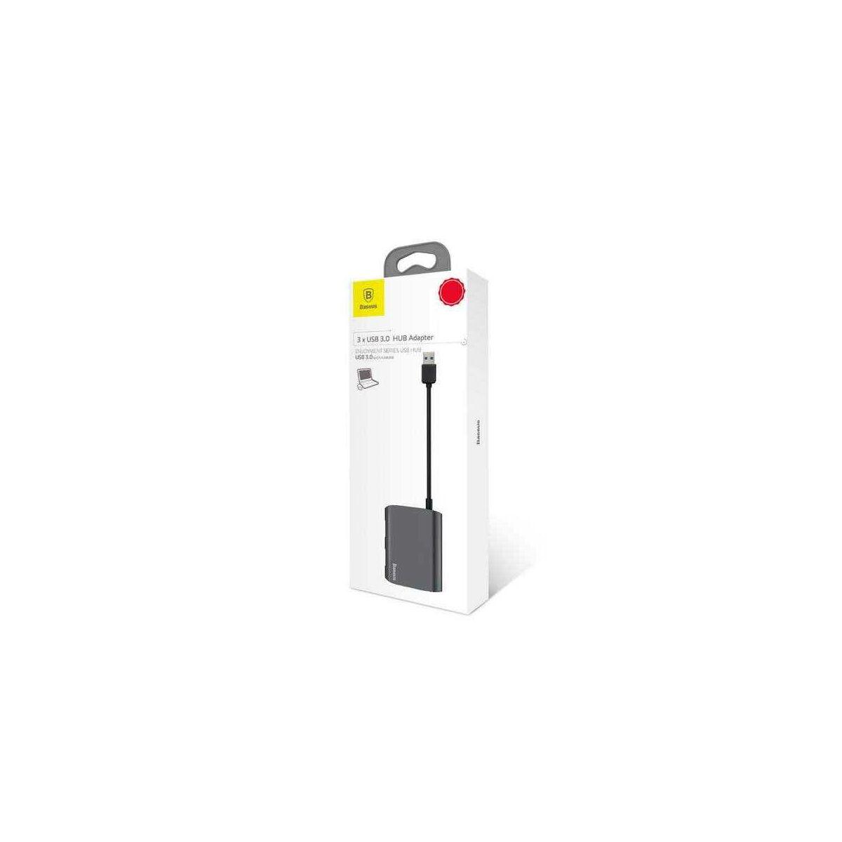 Baseus HUB, Enjoyment series (USB bemenetről - 3xUSB3.0) adapter, szürke (CAHUB-A0G)