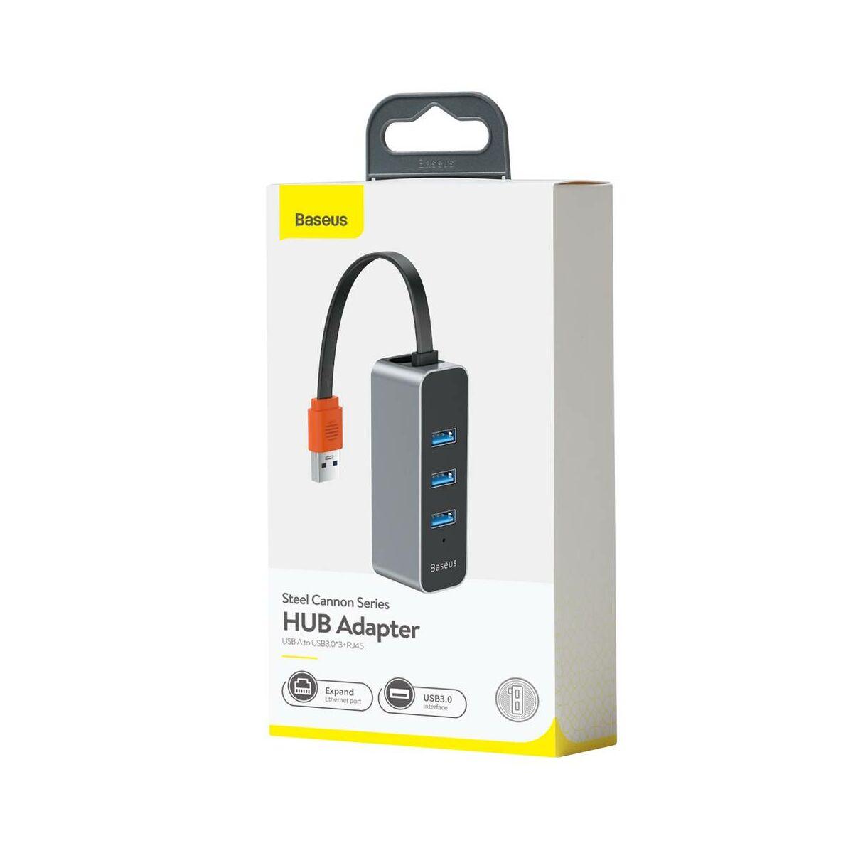 Baseus HUB Steel Cannon series (USB-A bemenetről - 3xUSB 3.0 + RJ45) adapter, szürke (CAHUB-AH0G)